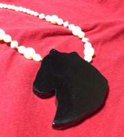 MOP Inlay and Pearl Horse Necklace
