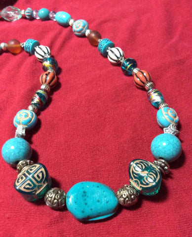 Turquoise Blue Glass and Ceramic Necklace