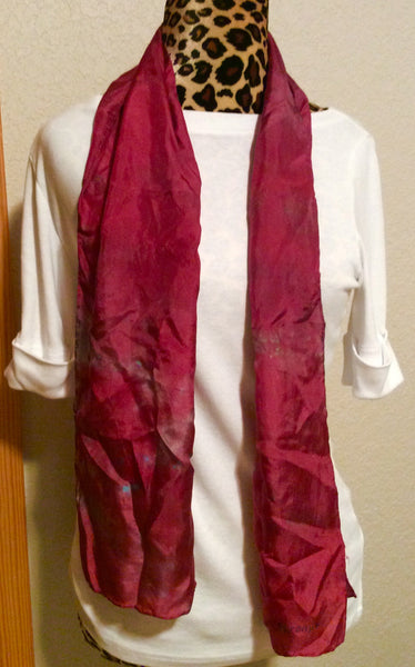 Cranberry Hand Dyed Silk Scarf