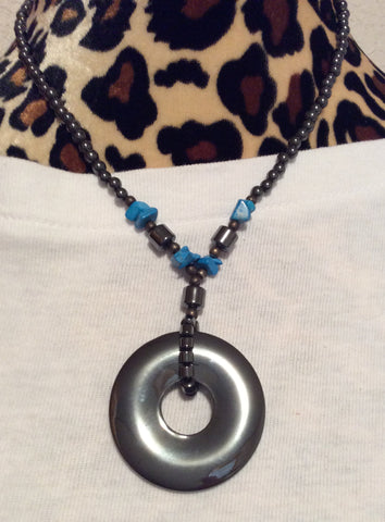 Hematite Donut Pendant Necklace