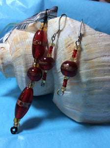 Red Glass Pendant and Earrings