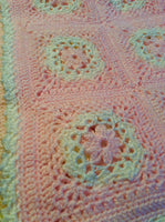 Pastel Pink and Green Handmade Crocheted Baby Blanket