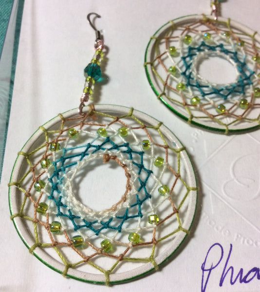 Handwoven Glass Dreamcatcher Stainless Earrings