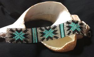 Turquoise Glass Bead Weaving Bracelet