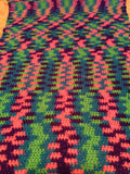 Neon Baby Afghan Hand Crocheted