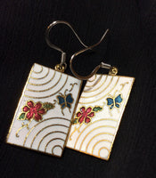 Enameled Flower and Butterfly Stainless Earrings