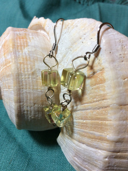 Peridot AB Square Glass Bead Stainless Earrings