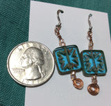 Blue Cut Glass Dangle Stainless Earrings