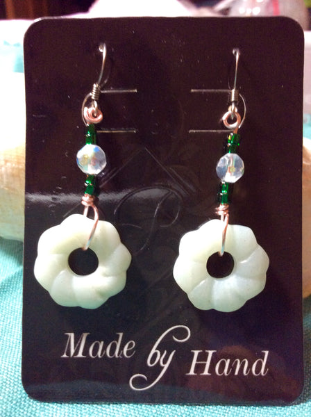 White Jade Handmade Stainless Earrings