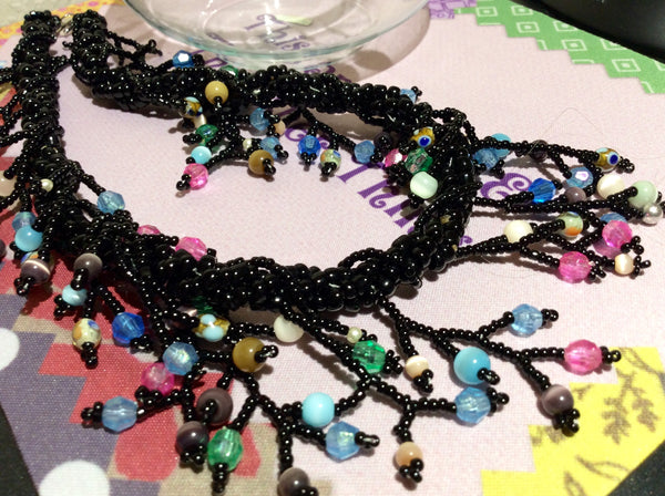 Christmas Glass Bead Necklace and 9 Pairs of Earrings