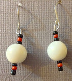 Classic White Earrings with Black and Red Accents