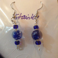 Blue Blown Glass Earrings