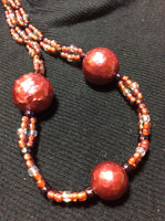 Mauve Glass Bead Handmade Necklace