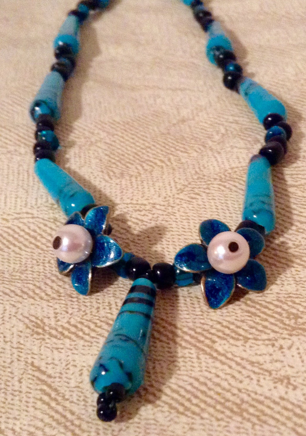 Turquoise Glass Bead Necklace and Earrings