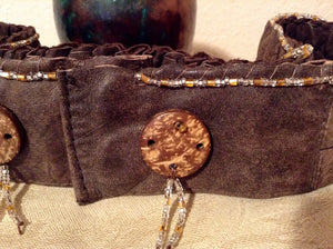 Handmade Leather Beaded Sash
