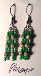 Natural Green Stone and Glass Bead Dangle Earrings