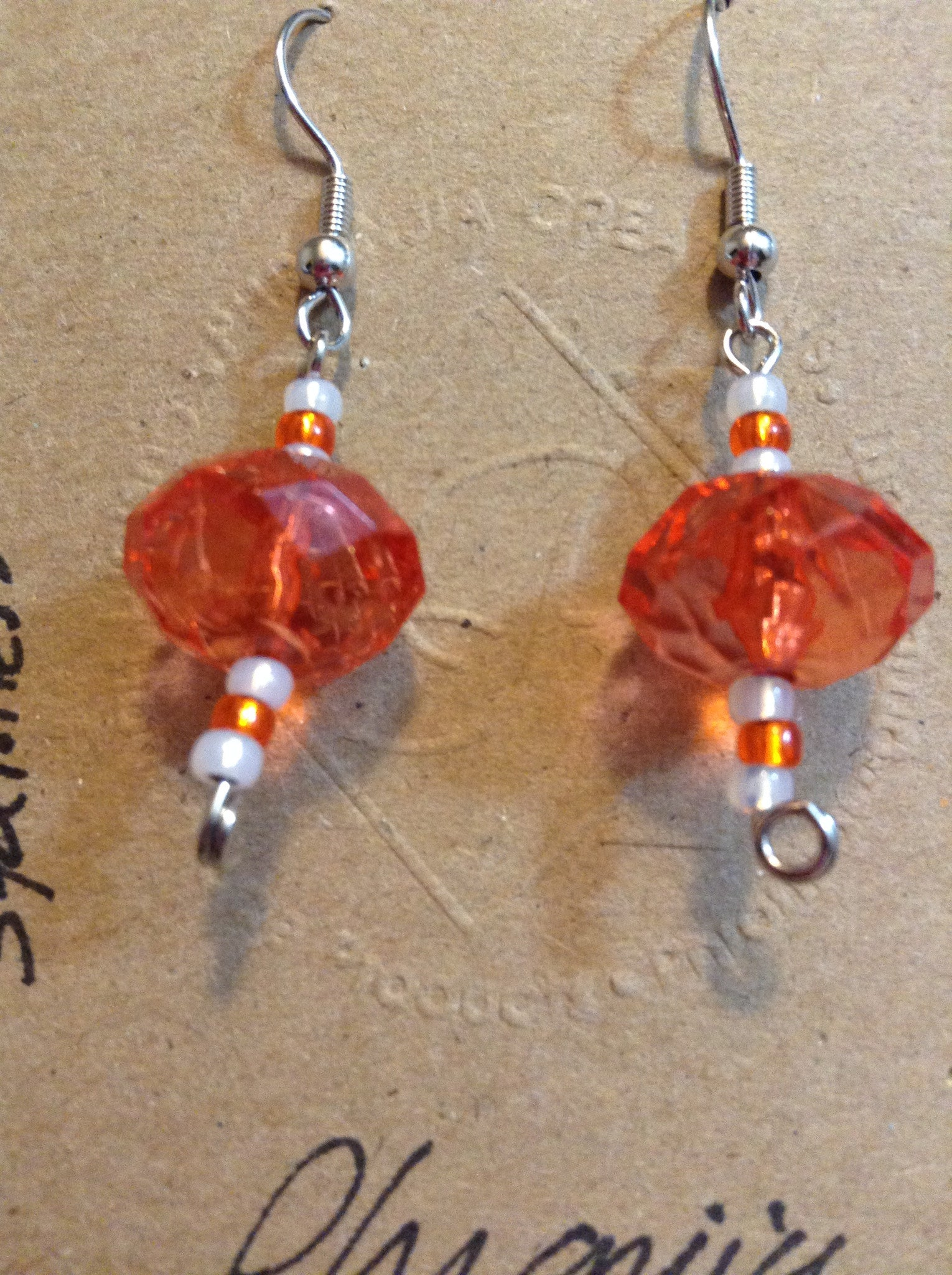 Faceted Acrylic and Glass Earrings