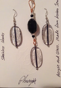 Crystal Clear Acrylic Pendant and Earrings