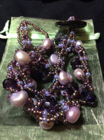 Lavender Pearls and Purple Crystal Necklace and Stainless Earrings