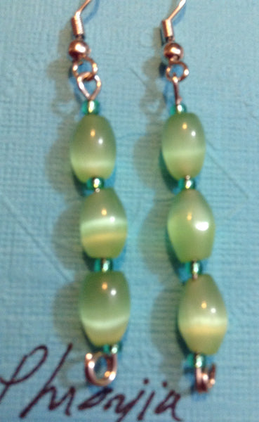 Green Cat's Eye Earrings