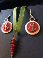 Classic Red and Gold Enameled Pendant and Stainless Earrings