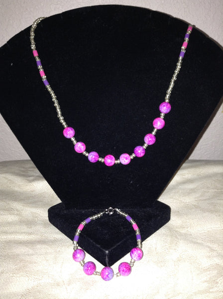 Pink Splendor Necklace and Bracelet Set