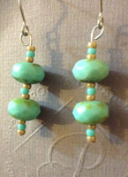 Turqoise Czech Glass Dangle Earrings