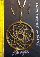 Dream Catcher Pendant with Earrings Surgical Stainless