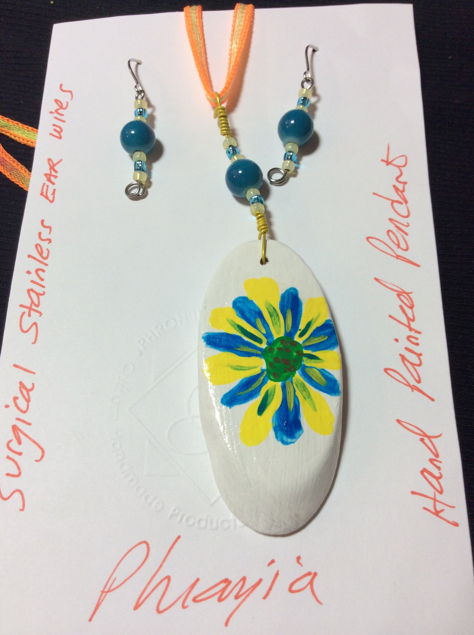Yellow and Bright Blue Hand Painted Pendant with Stainless Earrings