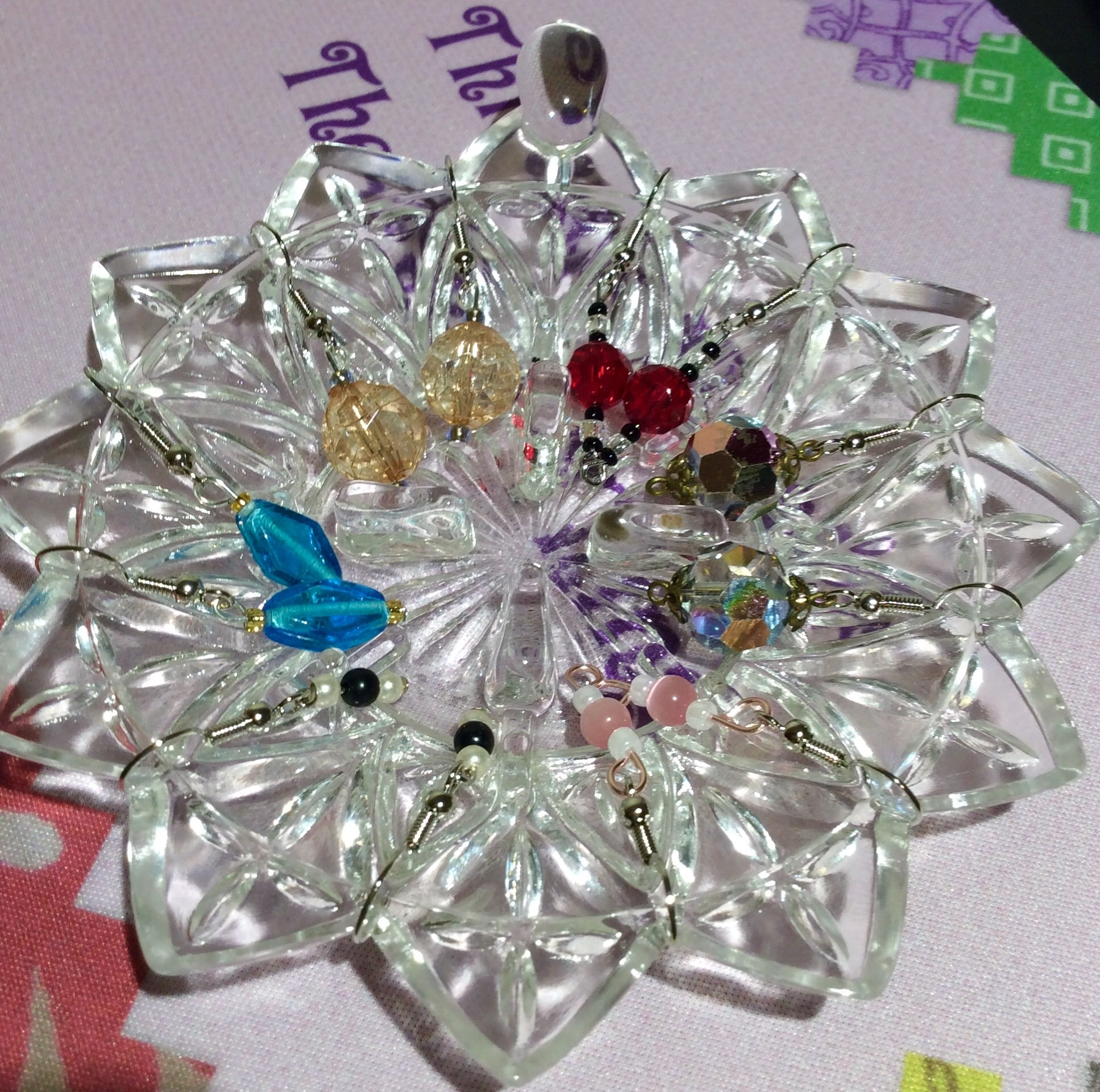 Christmas Glass Snowflake with 6 Pairs of Handmade Earrings