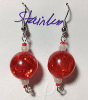 Vintage Crackle Orange Acrylic Earrings