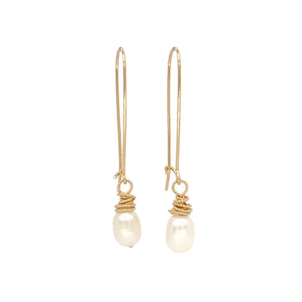 Pearl Gold Wrapped Earrings - Earth Grace Artisan Jewelry