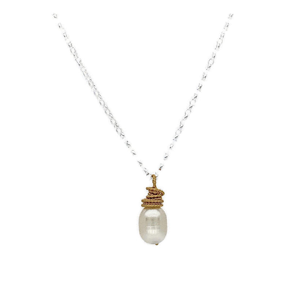 Pearl Gold Wrapped Necklace - Earth Grace Artisan Jewelry