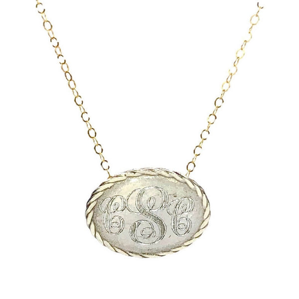 Small Oval Monogram Necklace - Earth Grace Artisan Jewelry