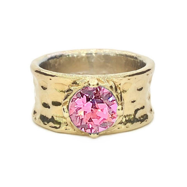 Wide Band Ring with Stone, 18K Gold Plated - Earth Grace Artisan Jewelry
