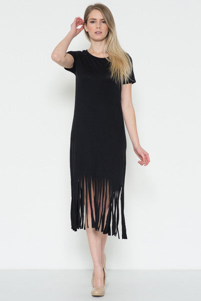 Fringe Midi Dress -Black