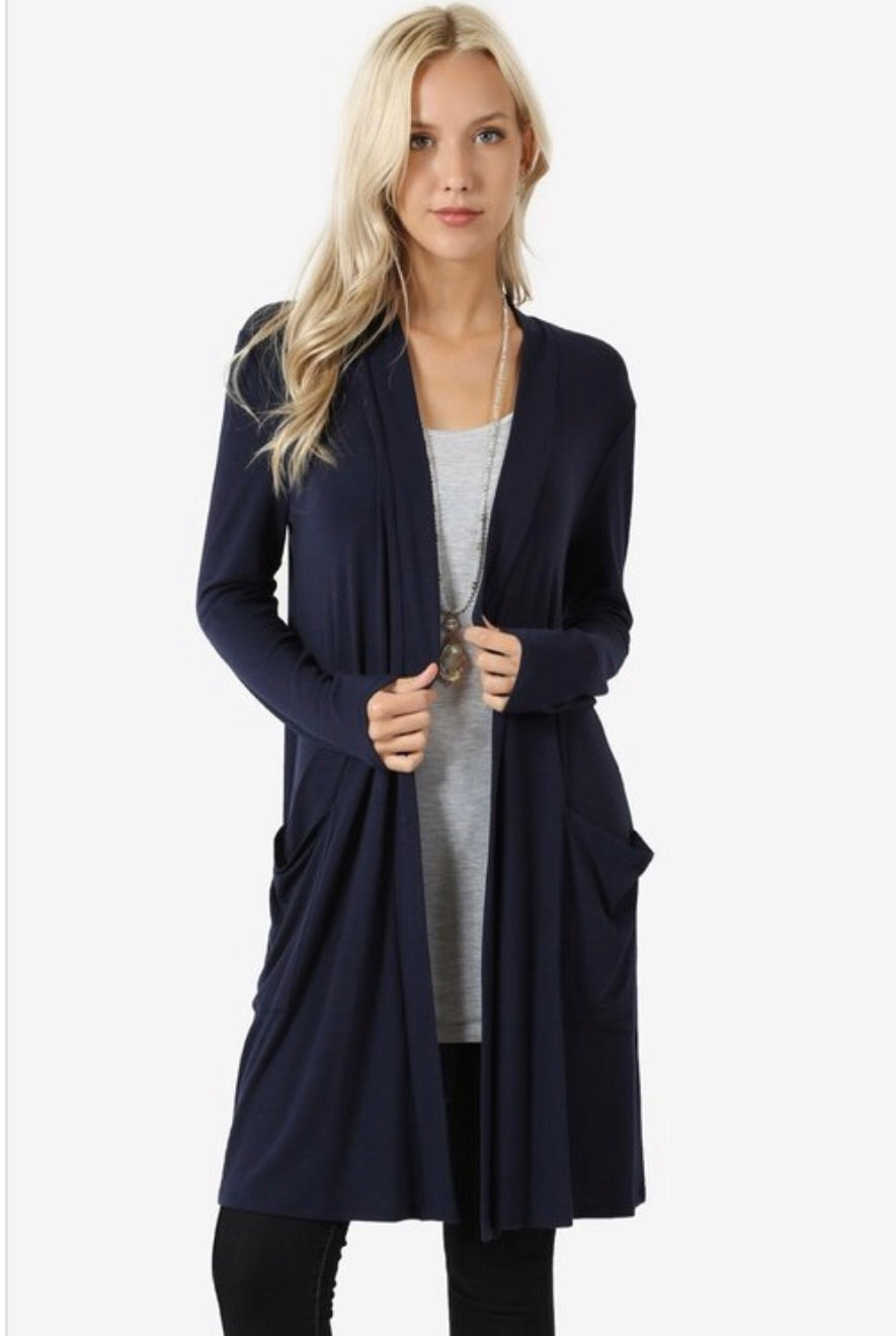 Navy Pocket Cardigan