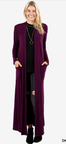 Deep Plum Duster Cardigan
