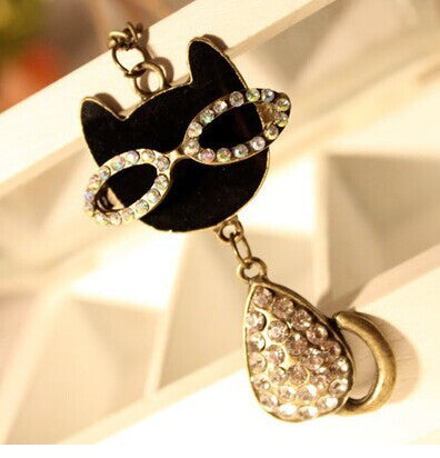 Diamond Cat Necklace Sweater Chain