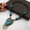 Wood Turquoise Big Owl Chain Necklace