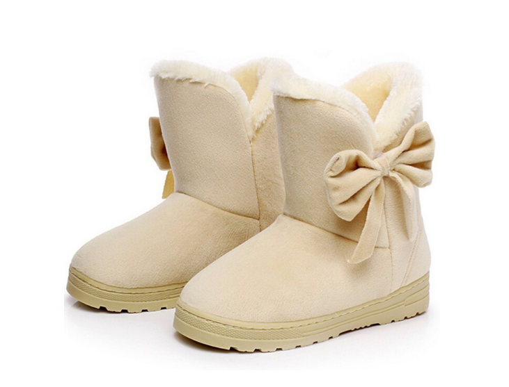 Bowtie Slip-On Soft Round Toe Snow Boots