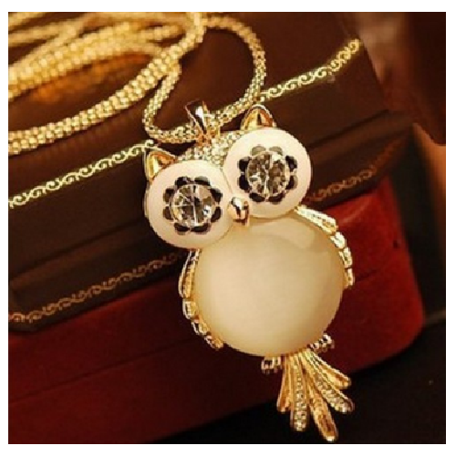 Cubic Zircon Fashion Charm Crystal Owl Necklace