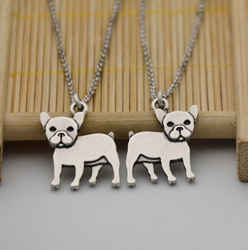 Vintage Silver French Bulldog Necklace