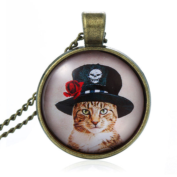 Cat Glass Cabochon Necklace Bronze Chain
