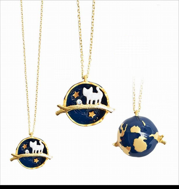 Arrival Cute Planet Kitten Cat Rhinestone Long Necklace Pendant