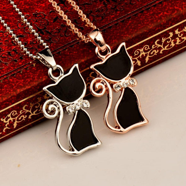 Fashion Girl Lady Animal Black Cat Necklace
