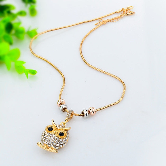 Crystal Love Owl Necklace