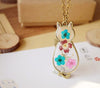 Romantic Cat Shape Glass Locket Dried Flower Plant Pendant