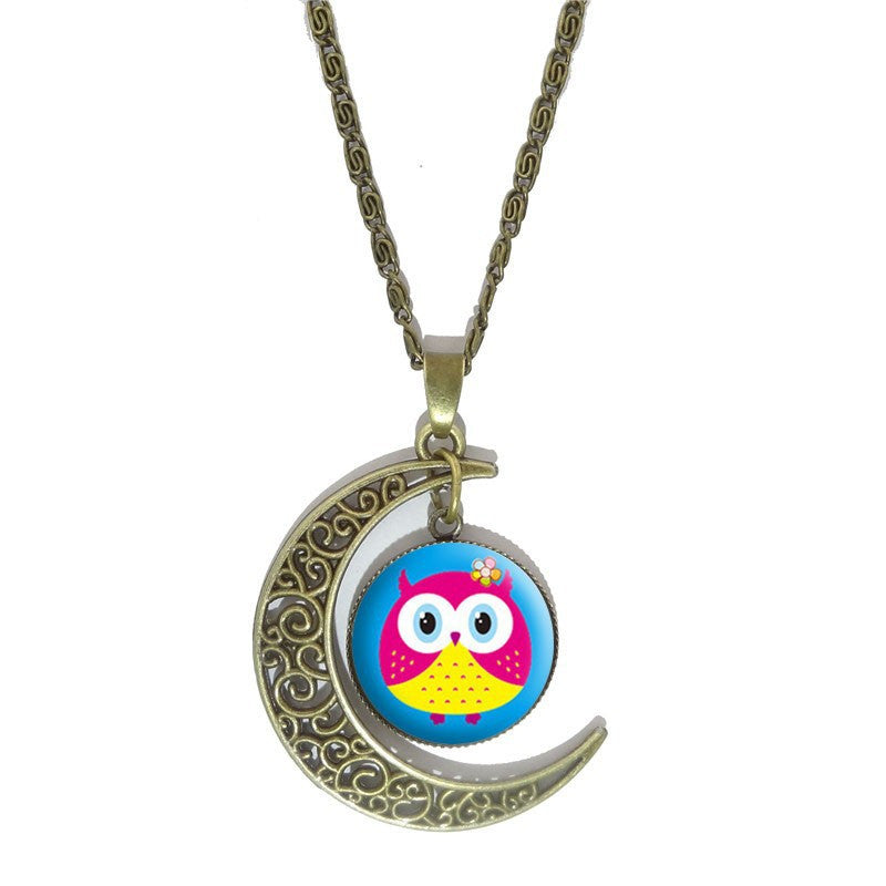 Vintage Style Owl Glass Cabochon Necklace