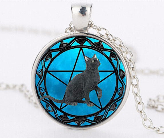 Black Cat pendant wiccan Necklace collar
